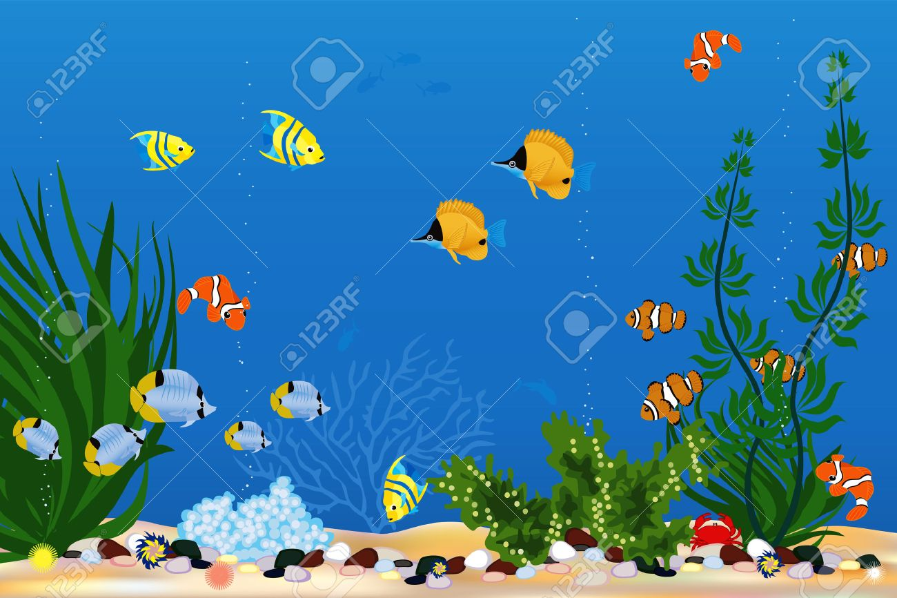Fish tank painting - Background With Beautiful Tropical Fishes Stock Vector 8642244