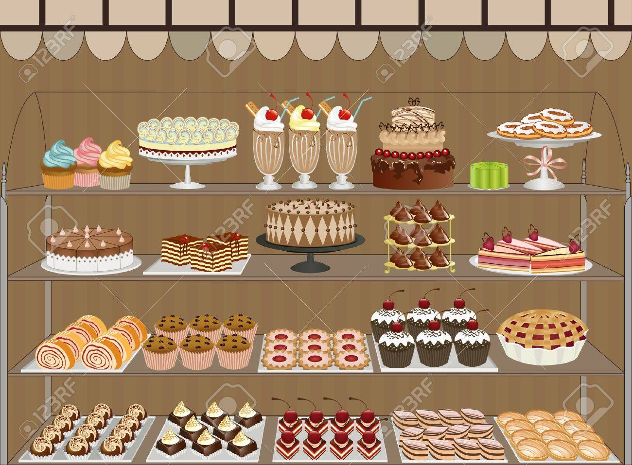 Window of a pastry shop with chocolates, cakes, muffins and cookies Stock Vector - 8642256