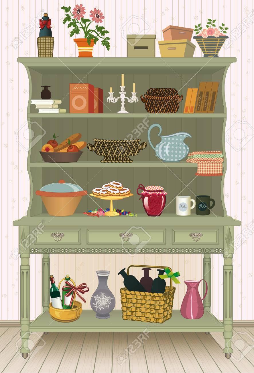 vintage armario con utensilios de cocina y alimentos foto de archivo