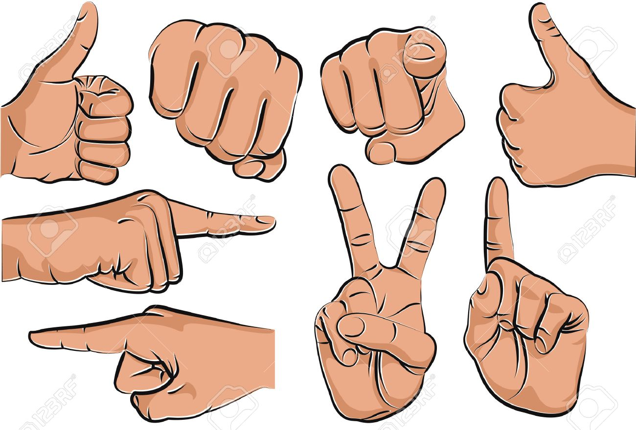 Collection of hand gestures - vector illustration Stock Vector - 8642205