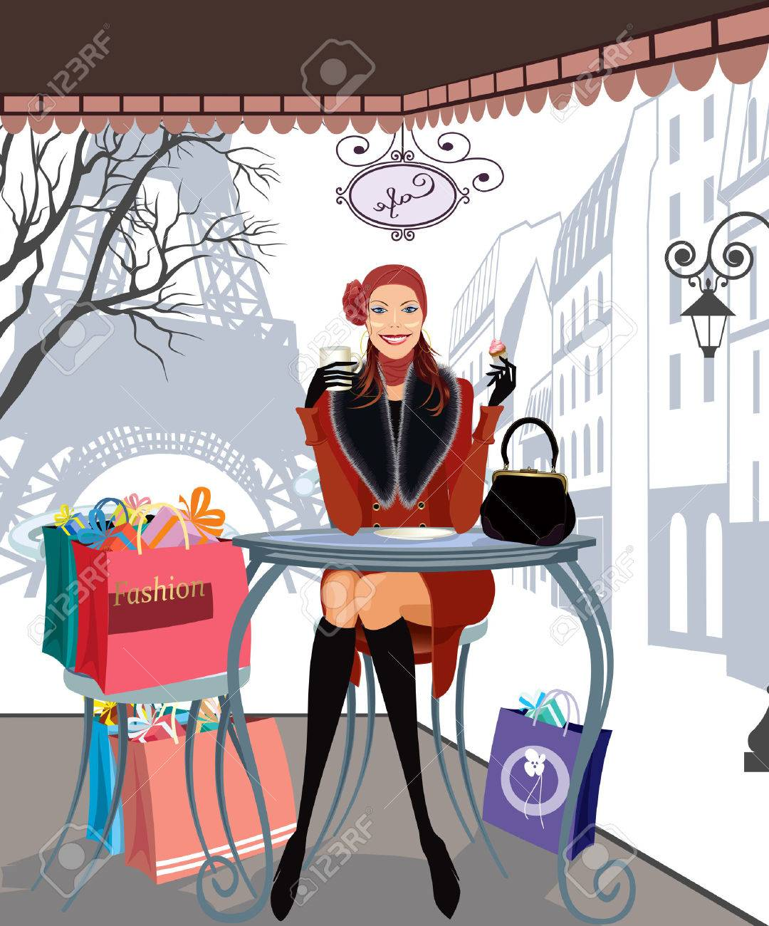 Beautiful girl drinking coffee in a Paris cafe after a shopping trip Stock Vector - 8642230