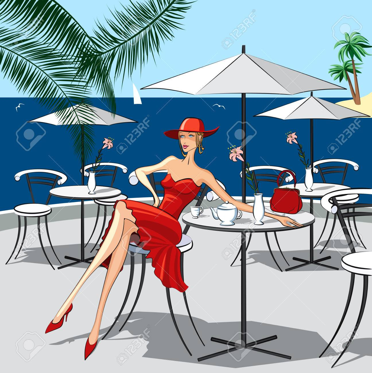 Background with beautiful woman sitting at a cafe by the sea Stock Vector - 8642228