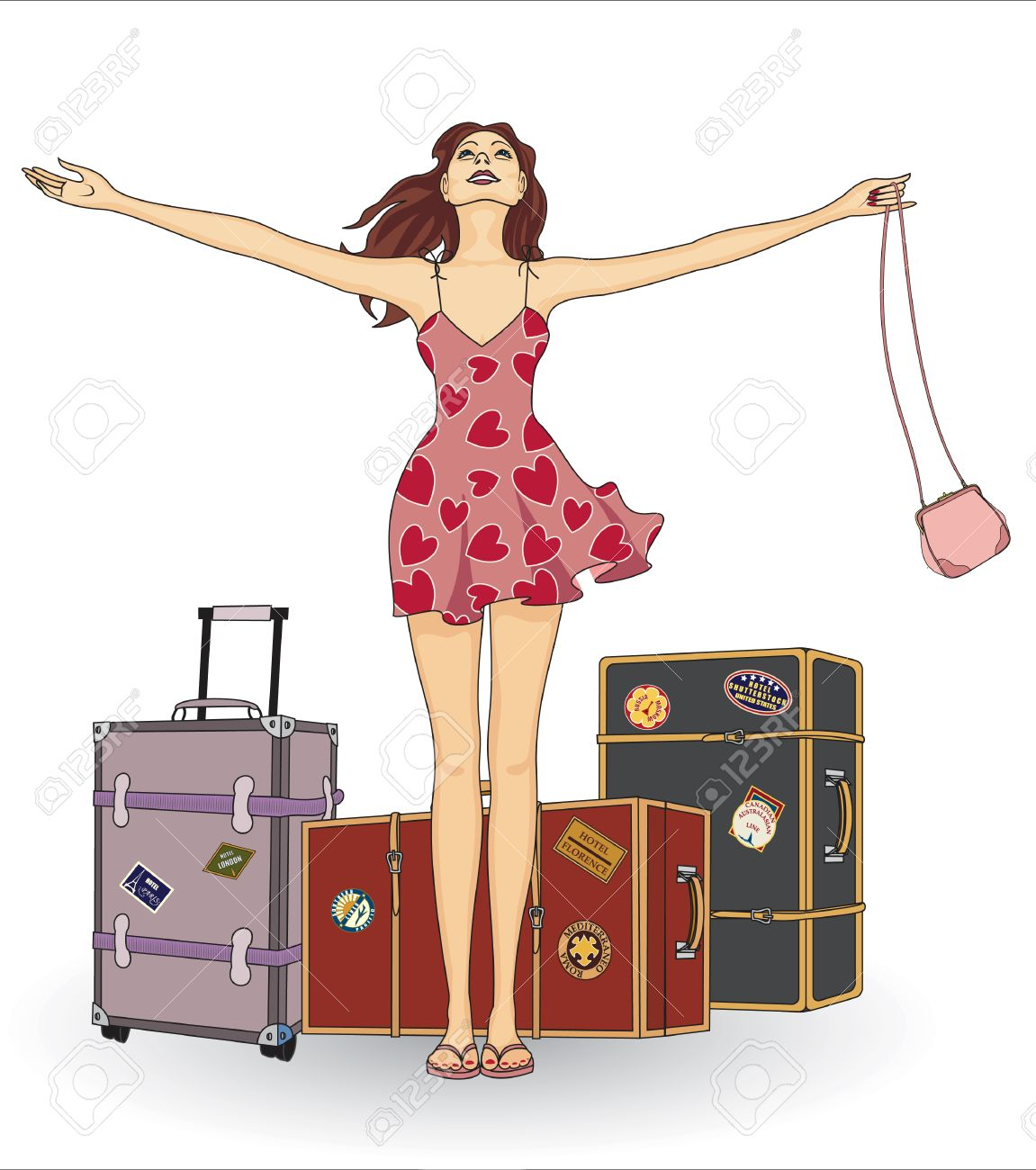 Girl with suitcases Stock Vector - 8642273