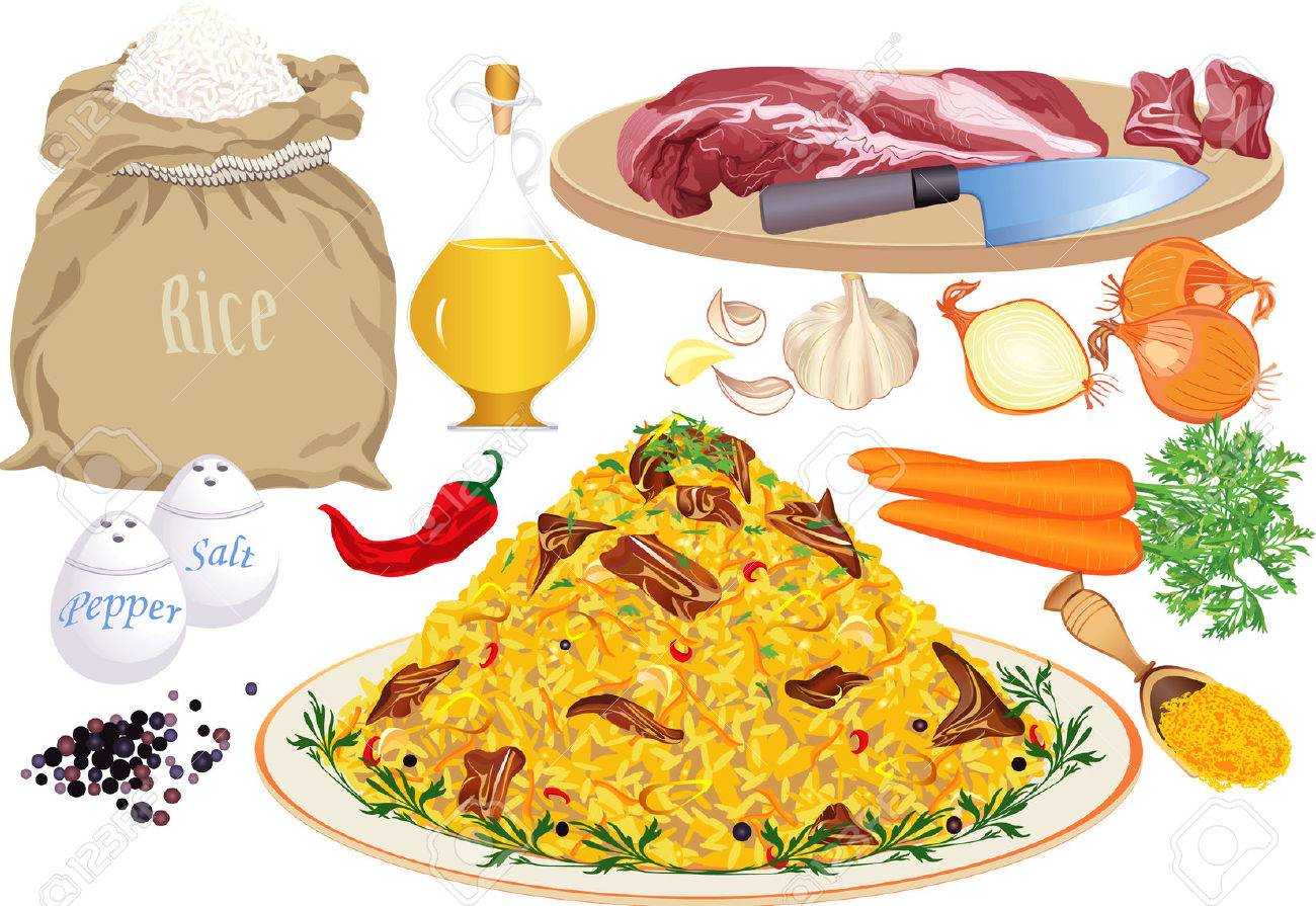 Pilaf and pilaf ingredients: rice, meat, vegetable oil, onion, carrot, garlic, pepper, chilly pepper, salt, curcuma Stock Vector - 8801885