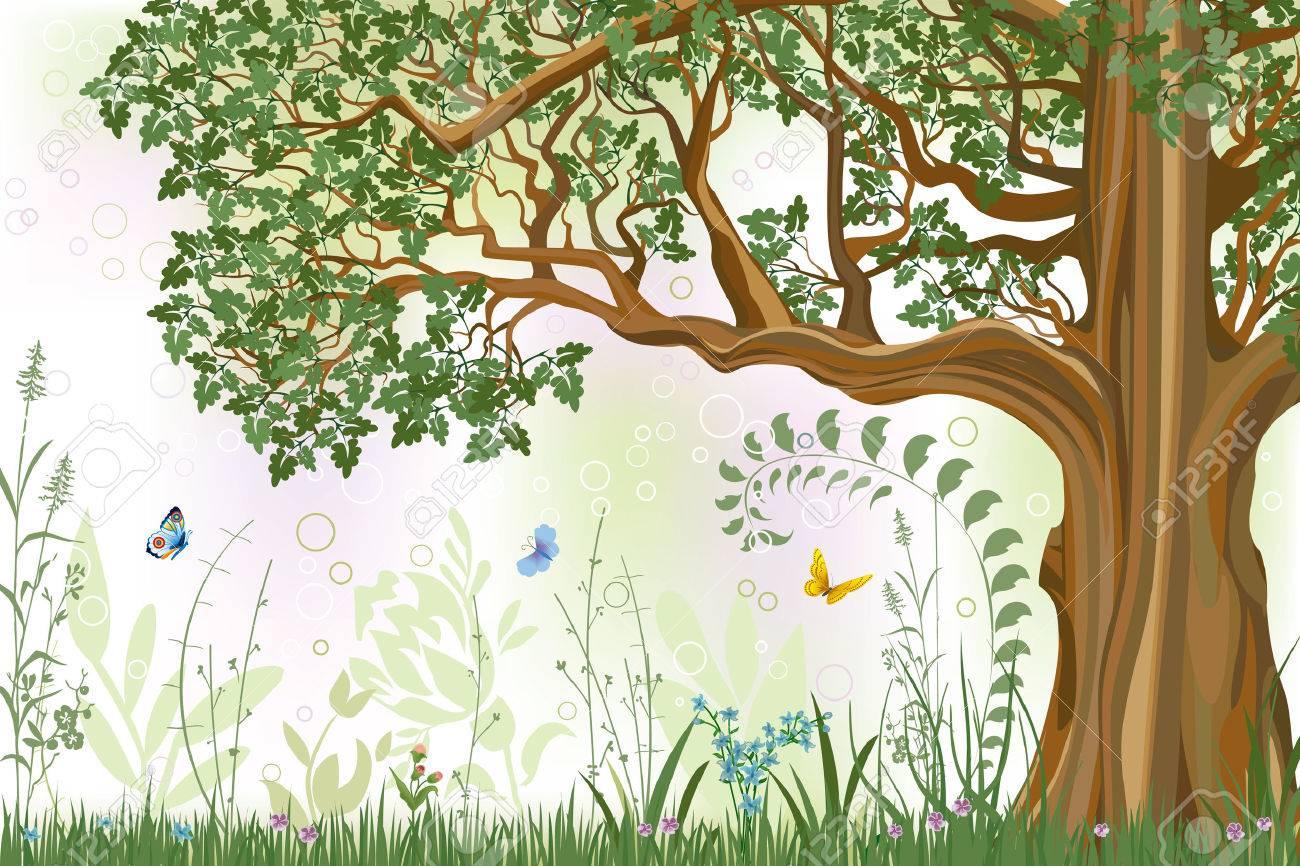 Vector iillustration of an oak tree in a meadow - 8911294