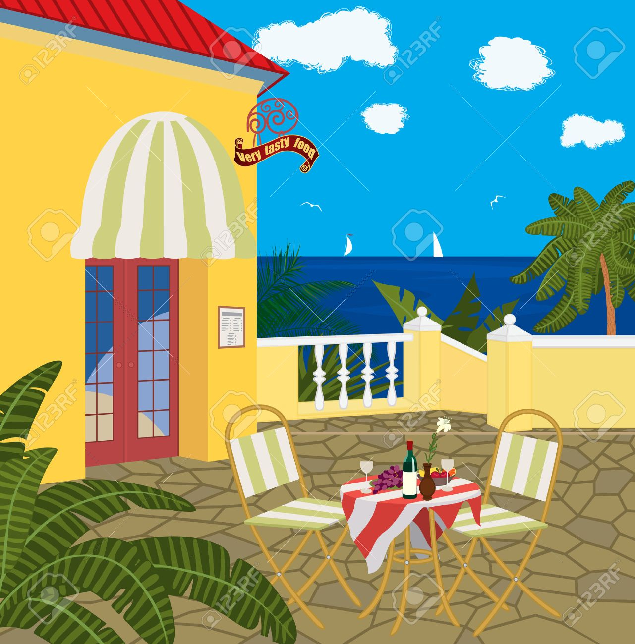 Restaurant by the sea Stock Vector - 8976489