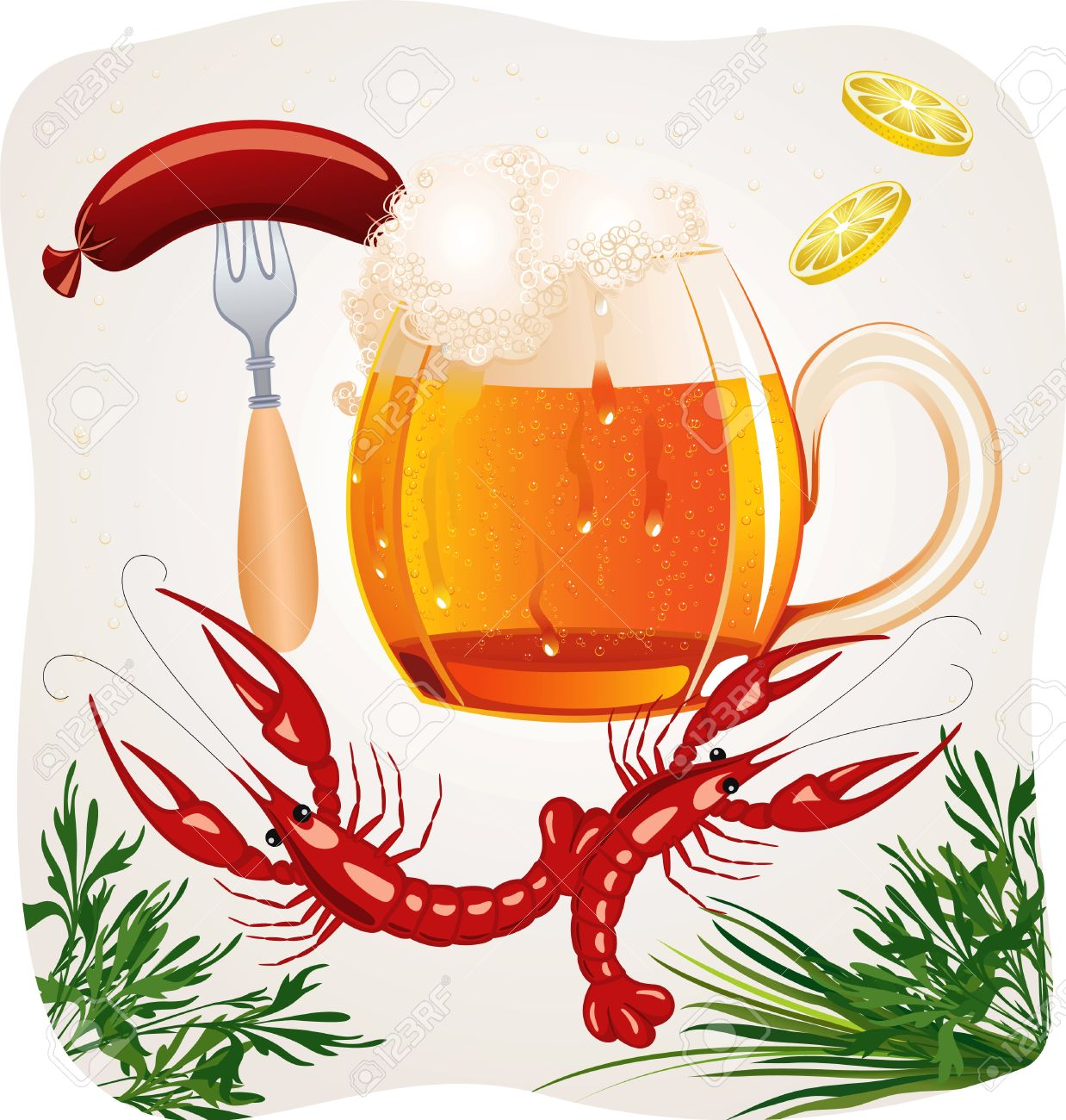 Mug of cold foamy beer with crayfishes and fork with a hot dog Stock Vector - 8976490