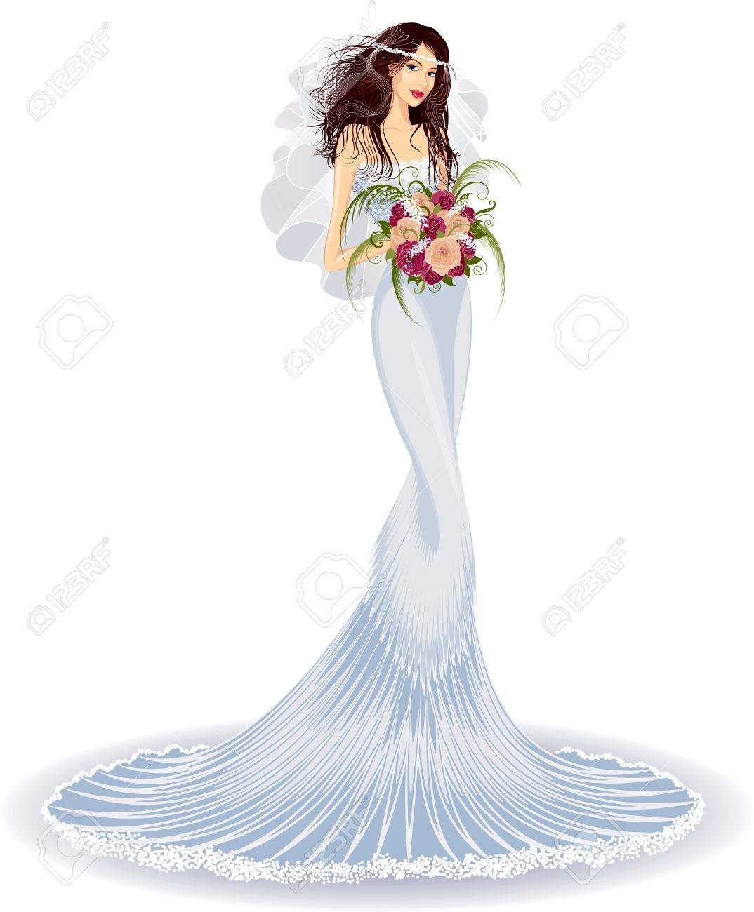 Beautiful bride in wedding dress with bouquet of roses Stock Vector - 9216004