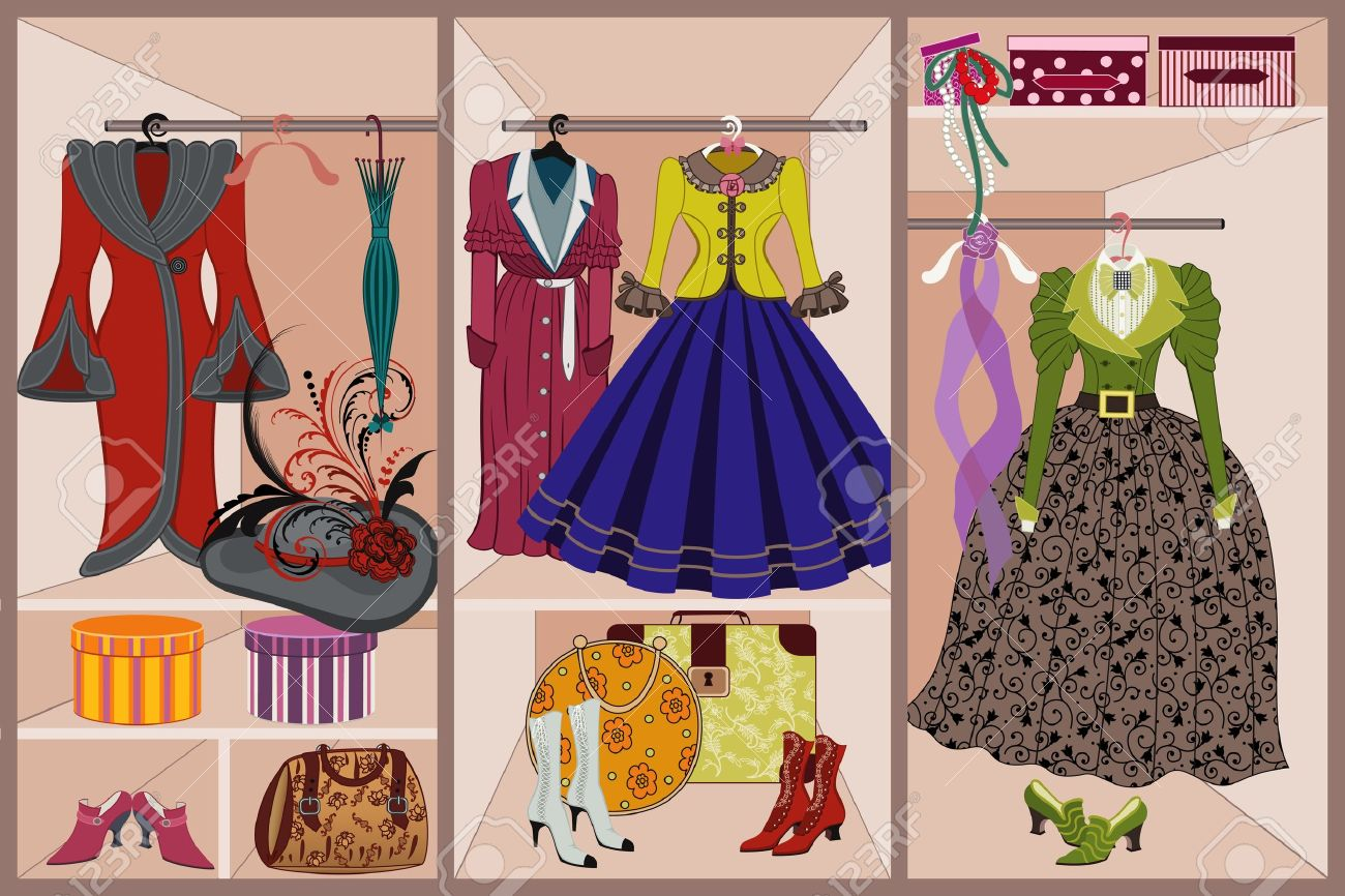 Wardrobe with vintage clothing - 9305060