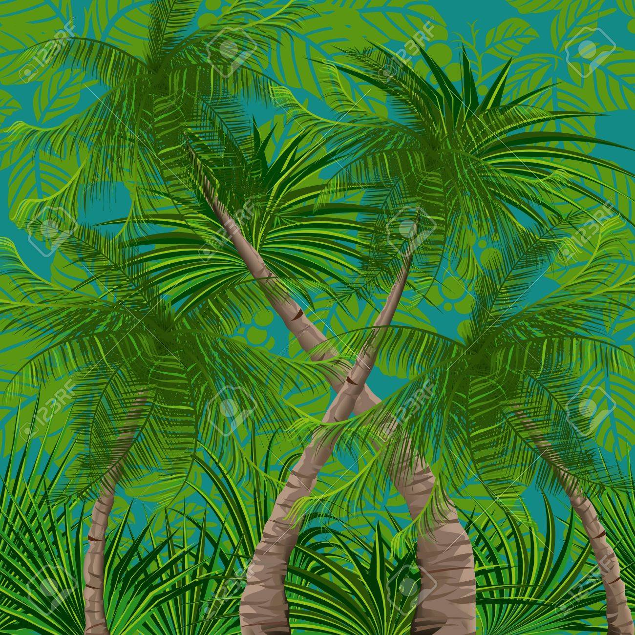 Background with tropical plants and trees Stock Vector - 9483294