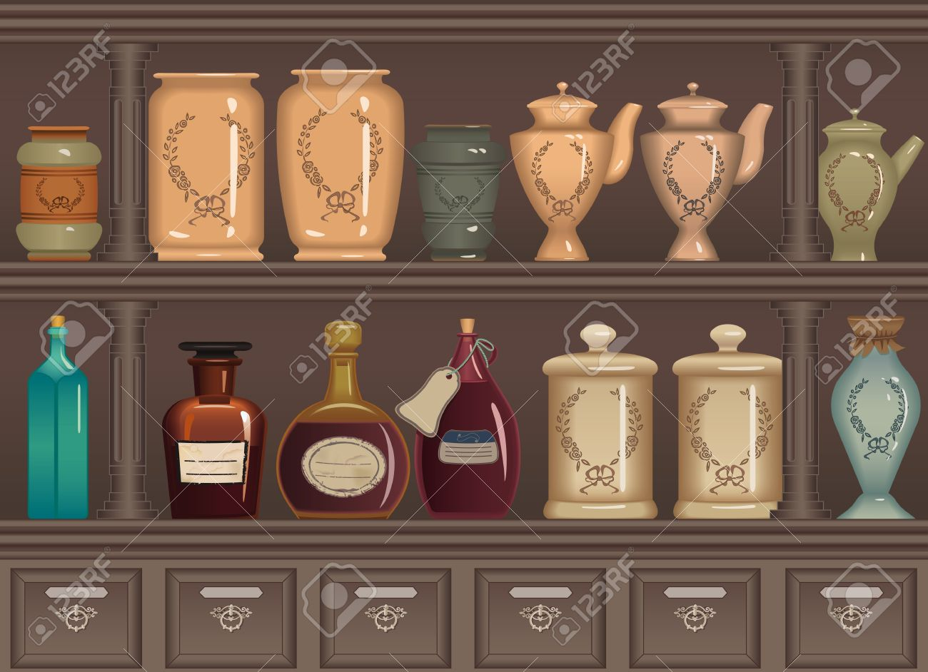 Vector   Vintage Bottles And Jars In The Pharmacy Cabinet