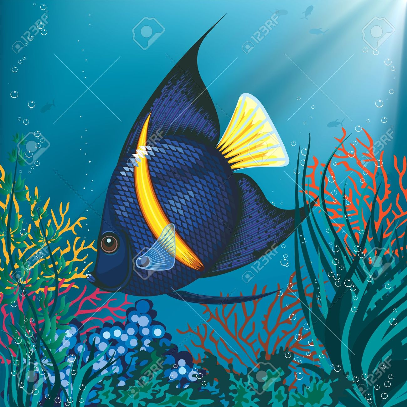 Illustration Of A Tropical Fish Swimming Underwater Stock Vector