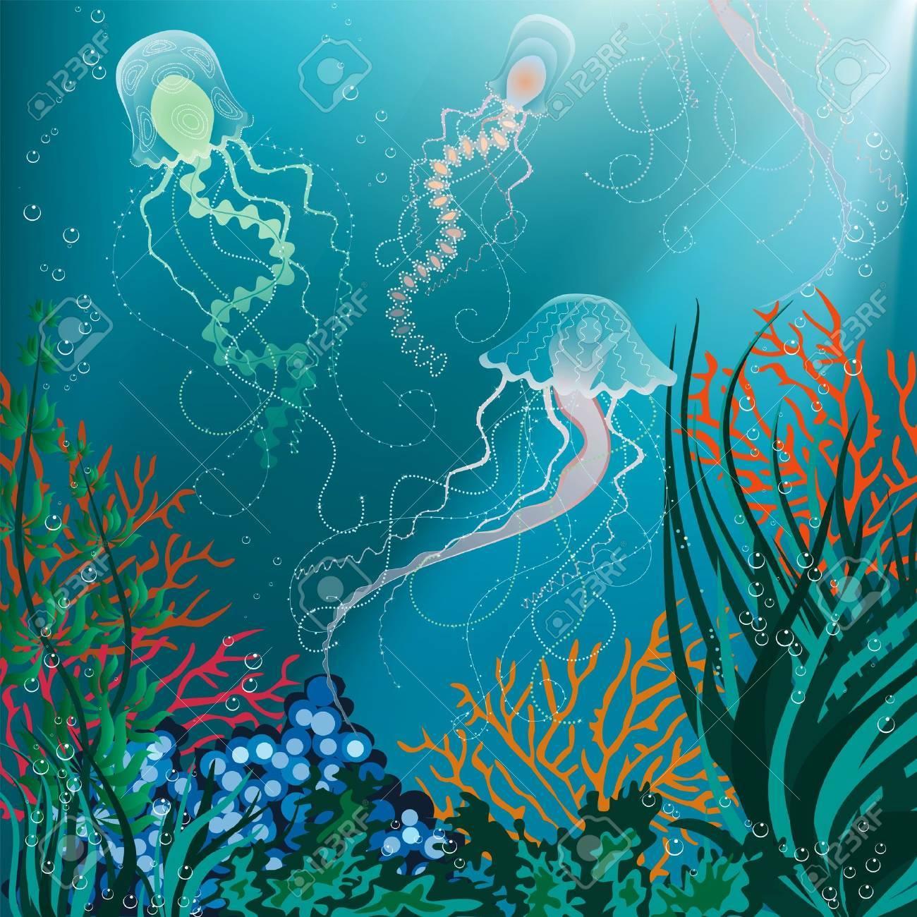 Vector illustration of jellyfish swimming underwater Stock Vector - 9716631