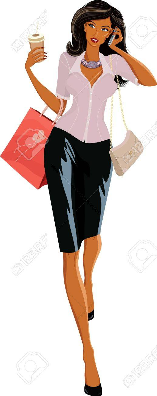 Vector illustration of a beautiful woman with bags walking and speaking on the phone Stock Vector - 9914123