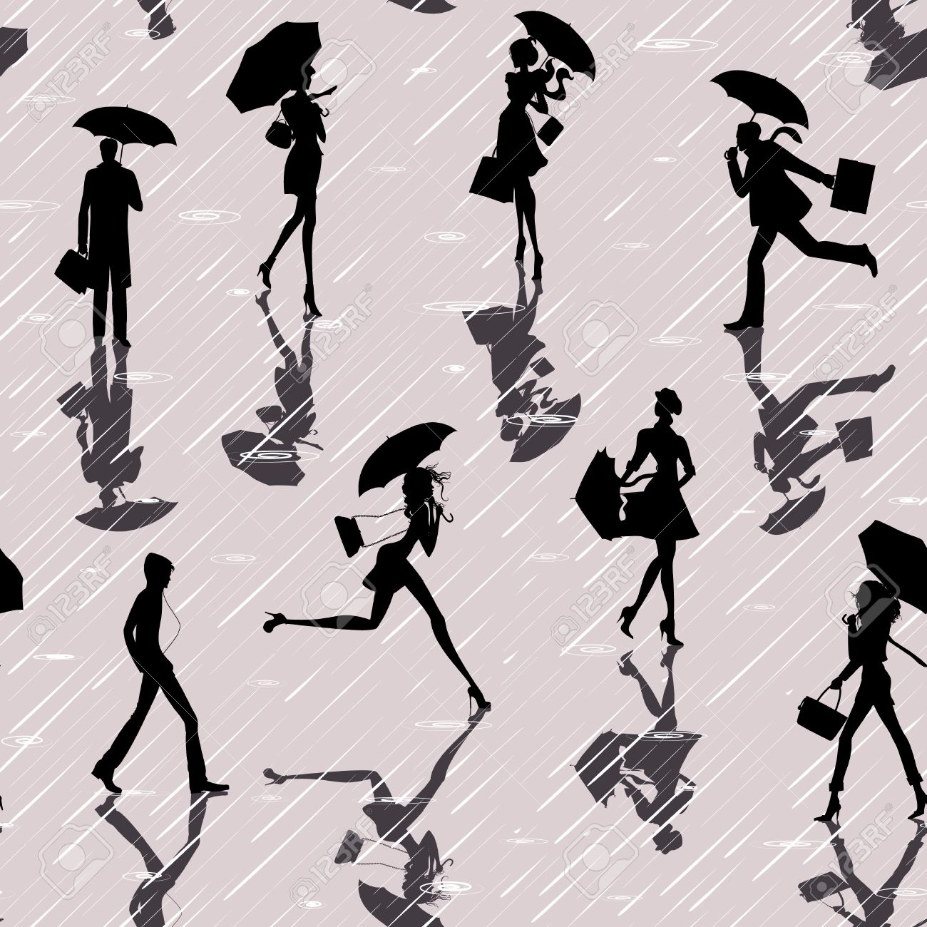 Seamless pattern with silhouettes of people with umbrellas in a rainy day Stock Vector - 10320270