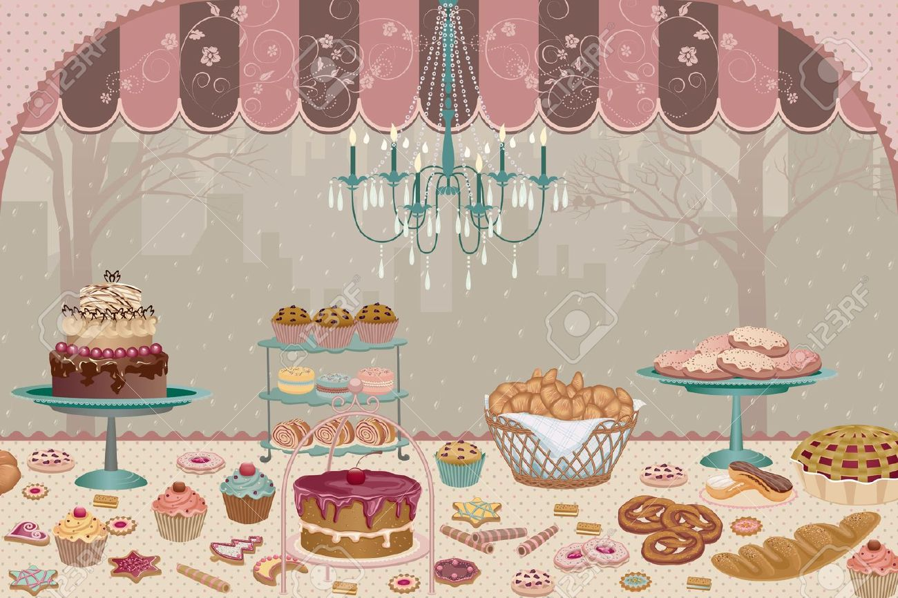 Showcase pastry shop with a variety of cakes, pies, cookies and cupcakes Stock Vector - 10424110