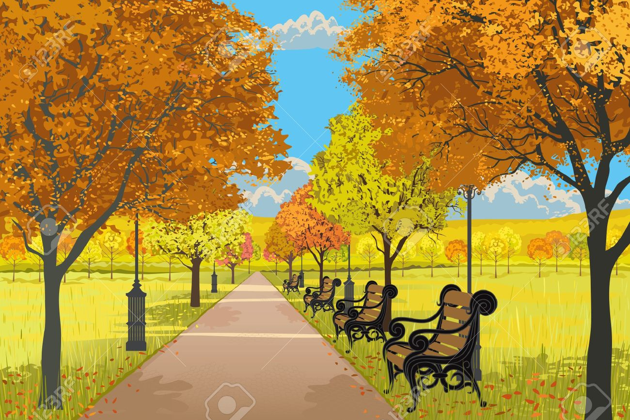 Illustration of the park with the footpath, benches, streets lamps and trees in autumn Stock Vector - 10642101