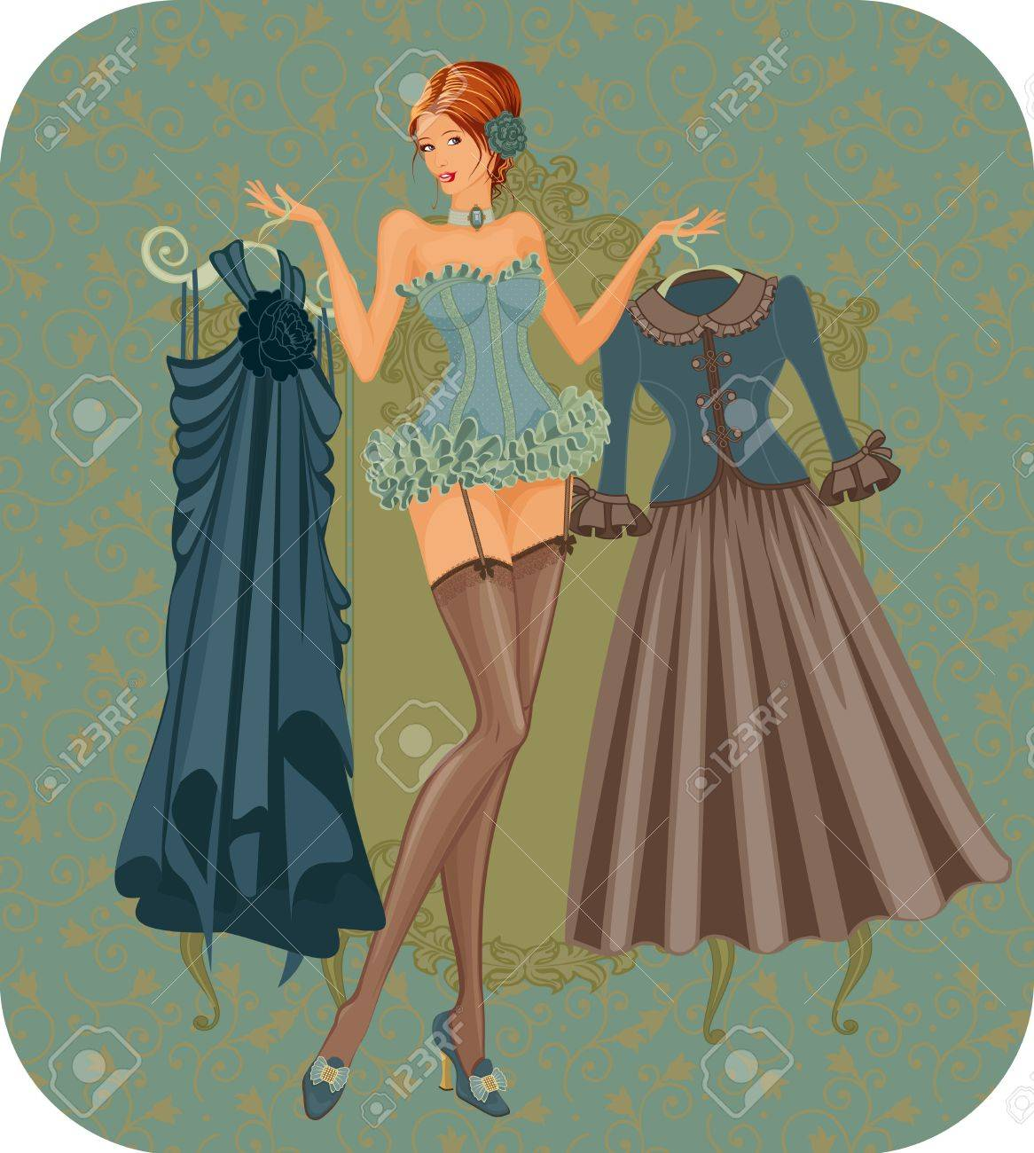 Illustration of a beautiful woman in corset with dresses in vintage style Stock Vector - 10775019