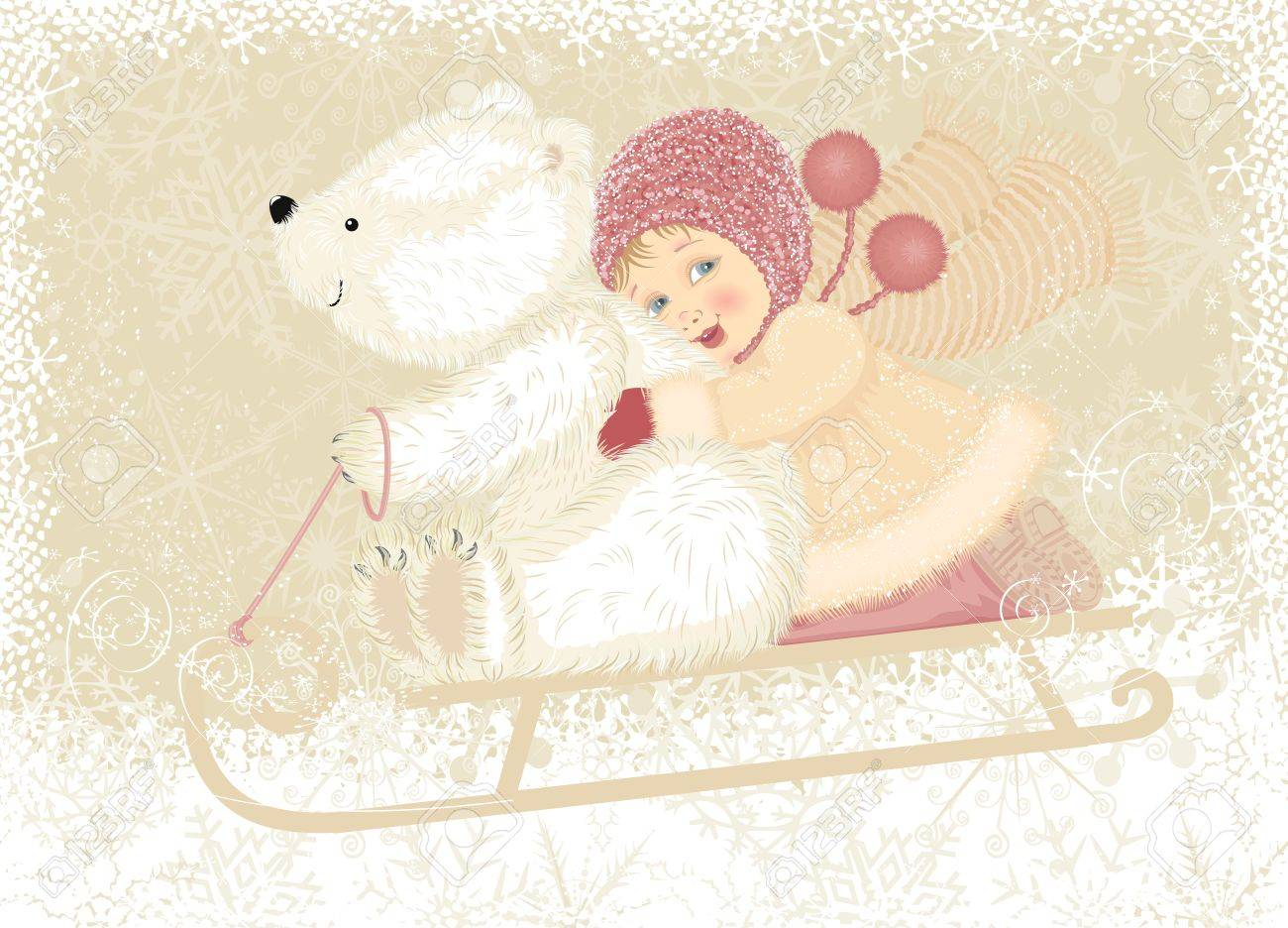 Little girl with cub polar bear sledding Stock Vector - 10988024