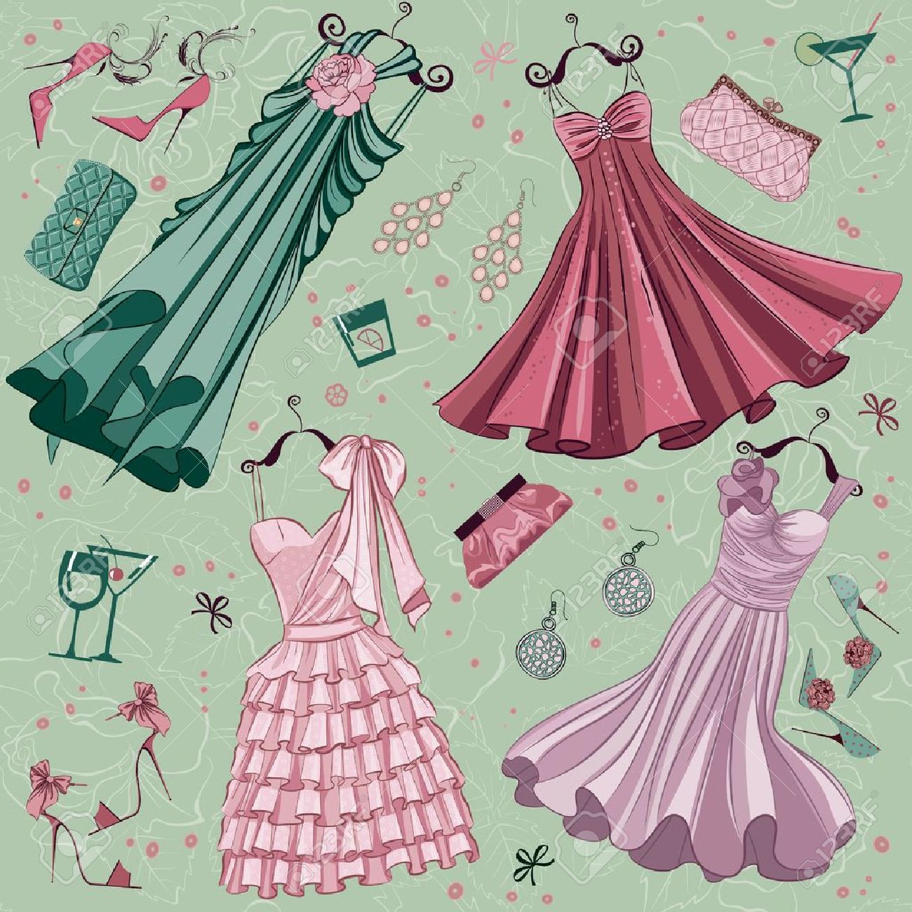 Set Of Women Fashion Clothes Ans Accessories Over Floral Background Royalty Free Cliparts Vectors And Stock Illustration Image 11052962