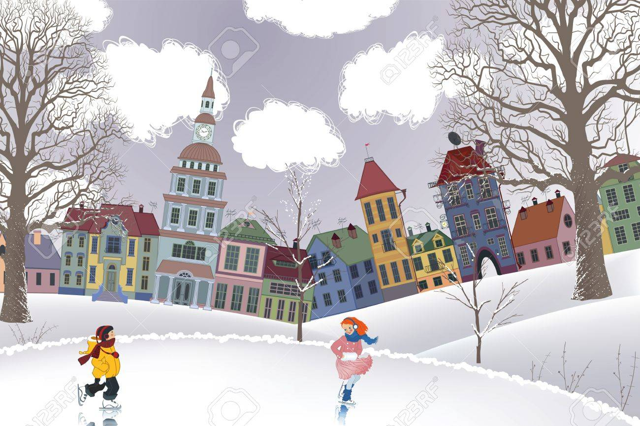 Little girl and little boy skating at the rink in front of the houses Stock Vector - 11542115