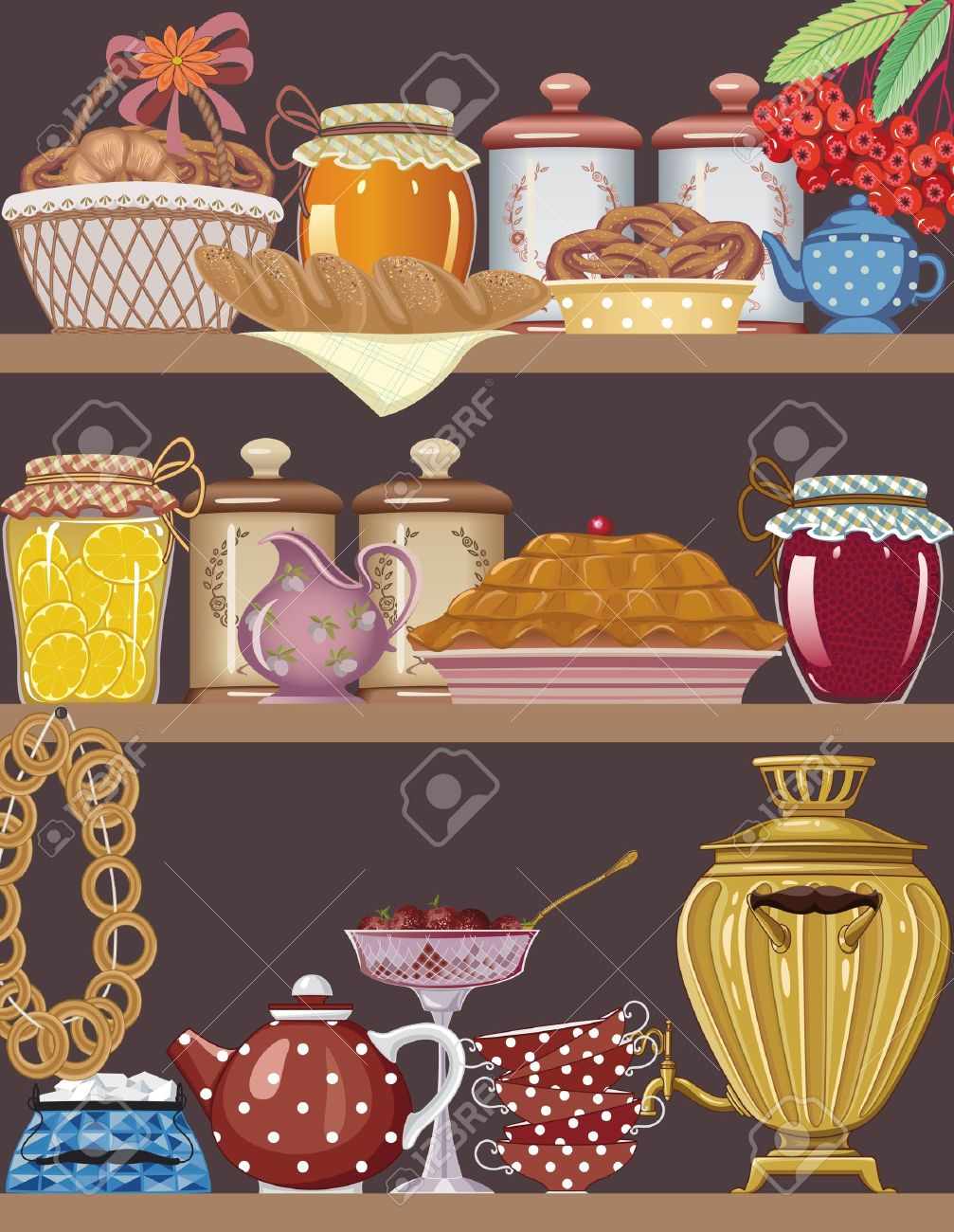 Shelves of a buffet with jars of homemade jams, bakery, teapot, teacups and gold russian samovar Stock Vector - 11860237