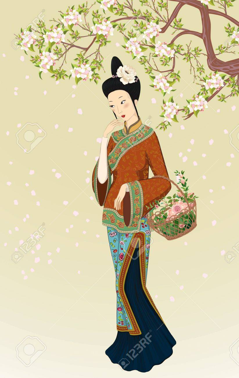 Chinese woman in traditional clothing with basket of flowers walking under blooming tree Stock Vector - 11860239