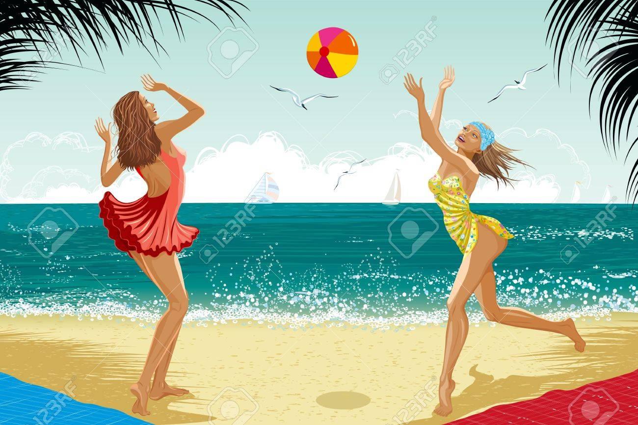 Одетые очень красивые девушки на пляже