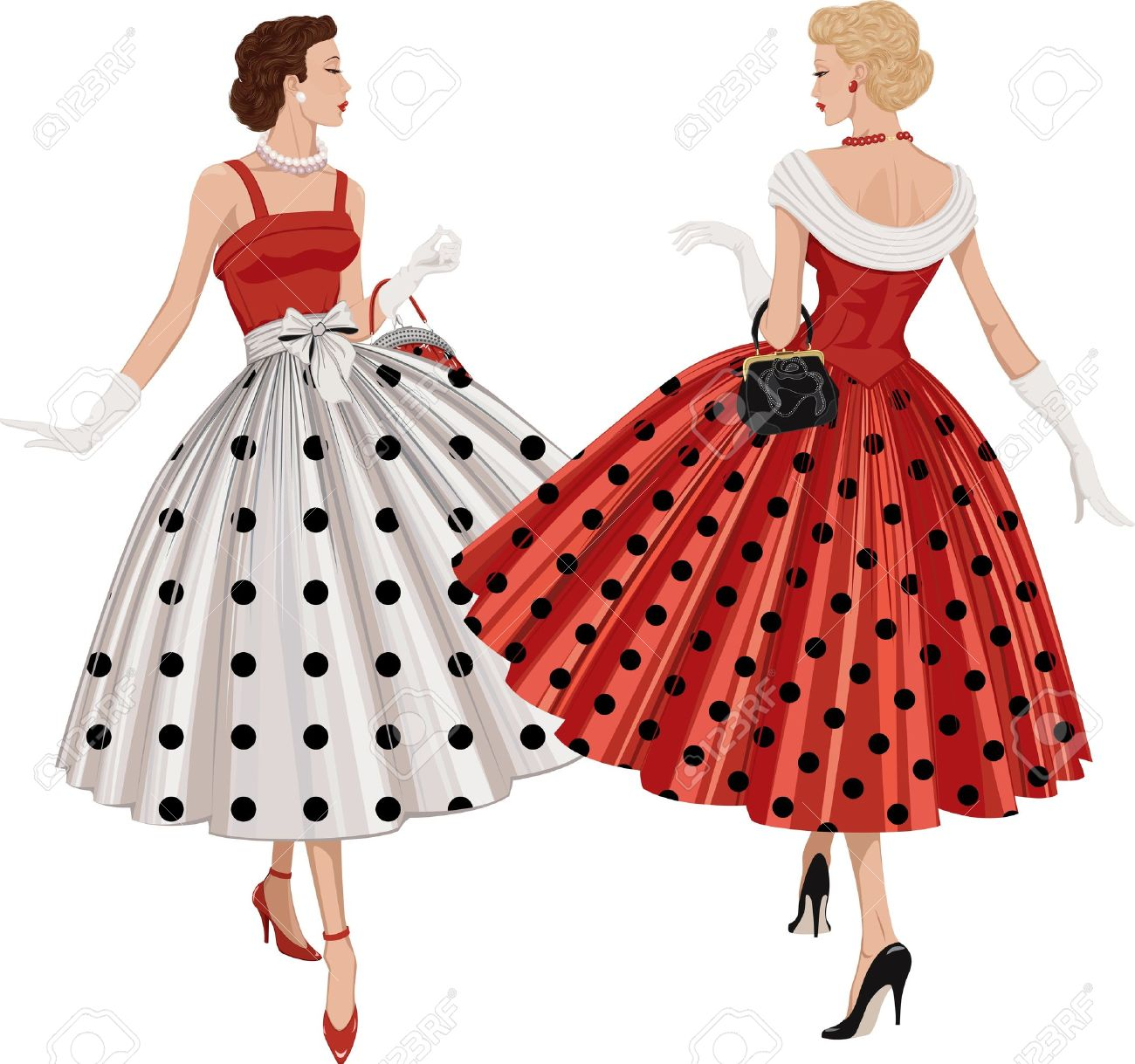 Two elegant women the brunette and the blonde dressed in polka dots garments inspect each other passing by - 12409989