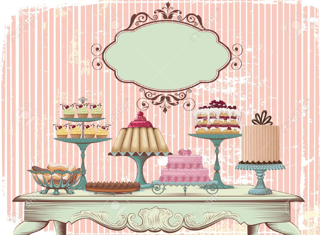 Old-fashioned table is set with different cakes All objects are grouped and separated to layers - 13271884