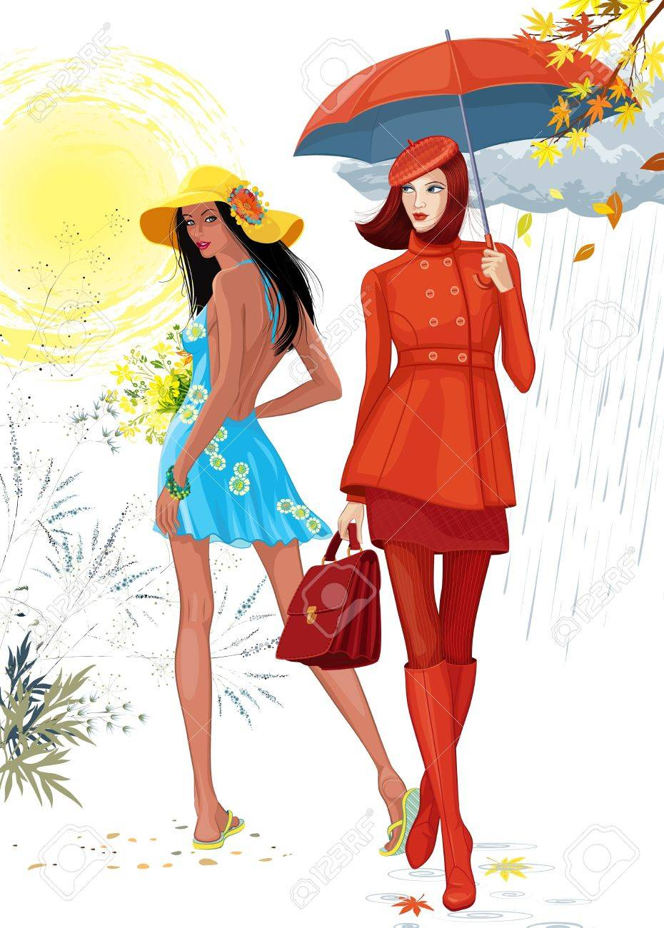 Illustration of two beautiful girls. Brunette girl in a blue dress images the summer time, and the girl in a red clothes with an umbrella images the autumn. Each girl is on a separate layer. Stock Vector - 14474108