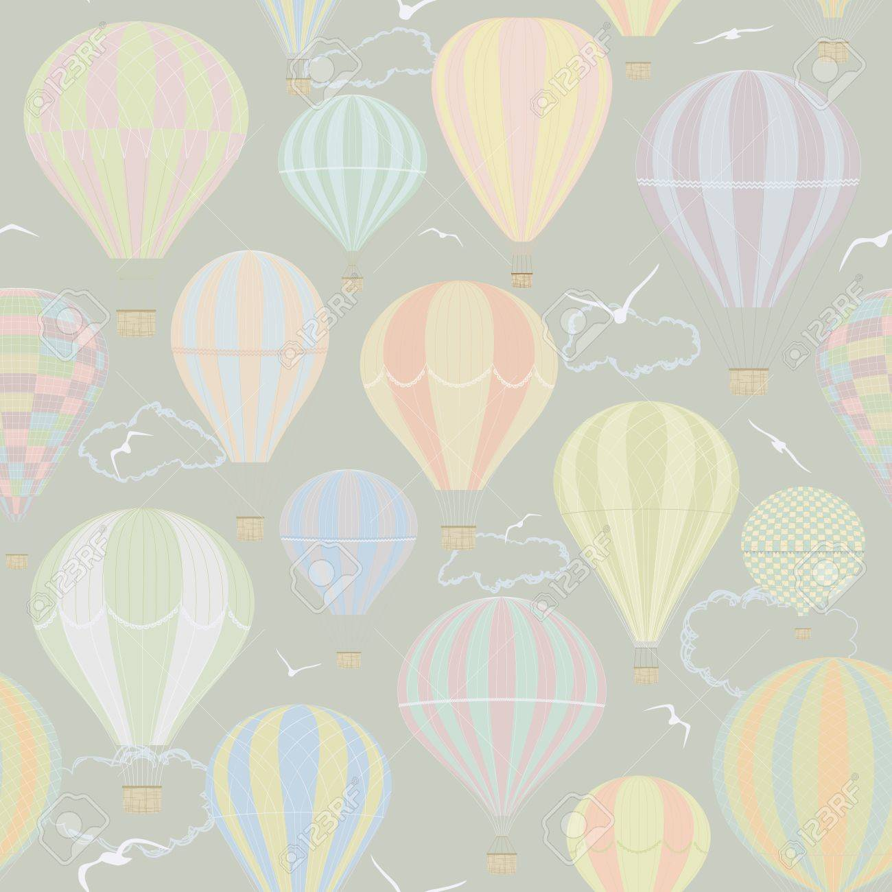 Seamless Pattern With Hot Air Balloons Royalty Free Cliparts ...