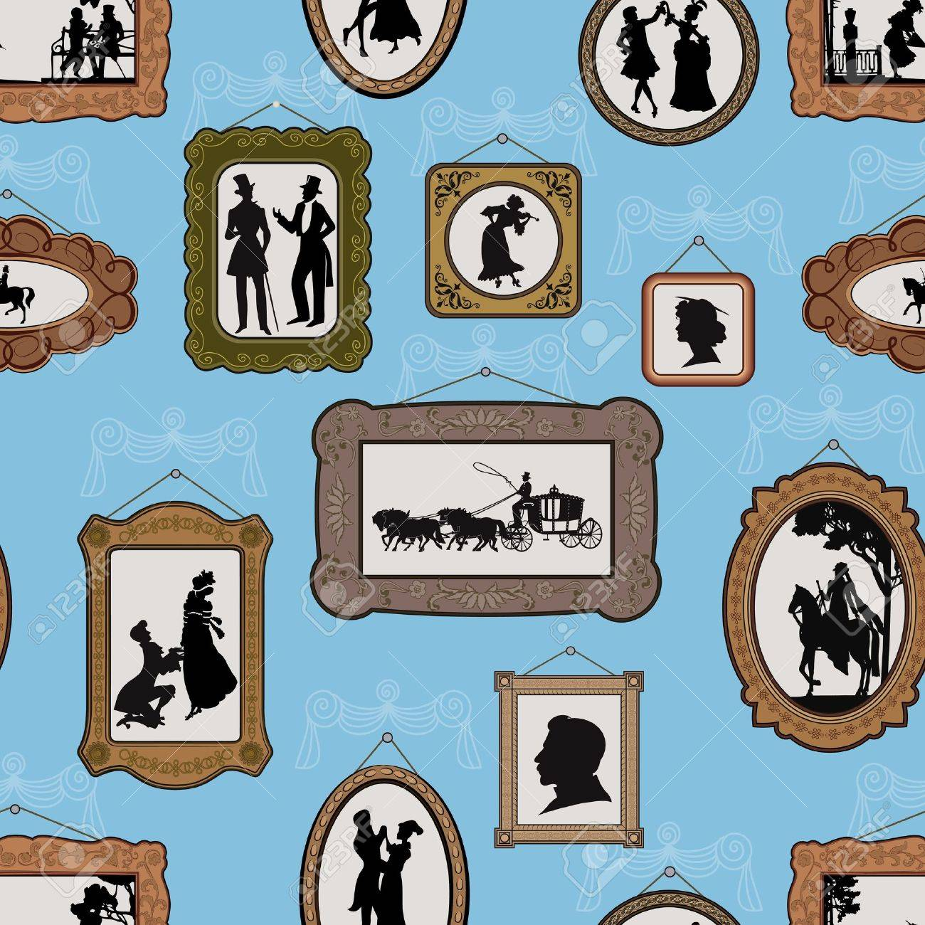 vector background with pictures in vintage silhouette design in antique frames hanging on the wall