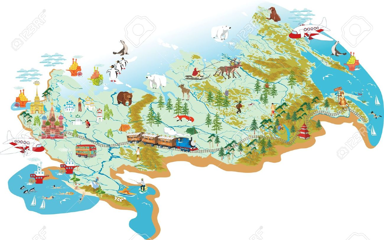 Cartoon Map Of Russia With A Symbol Of Moscow St Basil S Cathedral