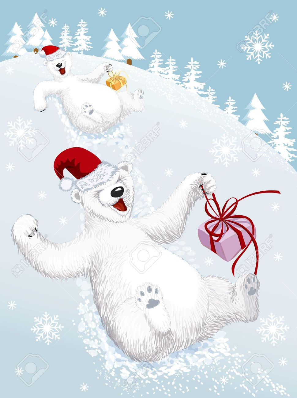 Two Funny Polar Bears Sliding Down From A Snowy Hill Royalty Free Cliparts Vectors And Stock Illustration Image 21426206