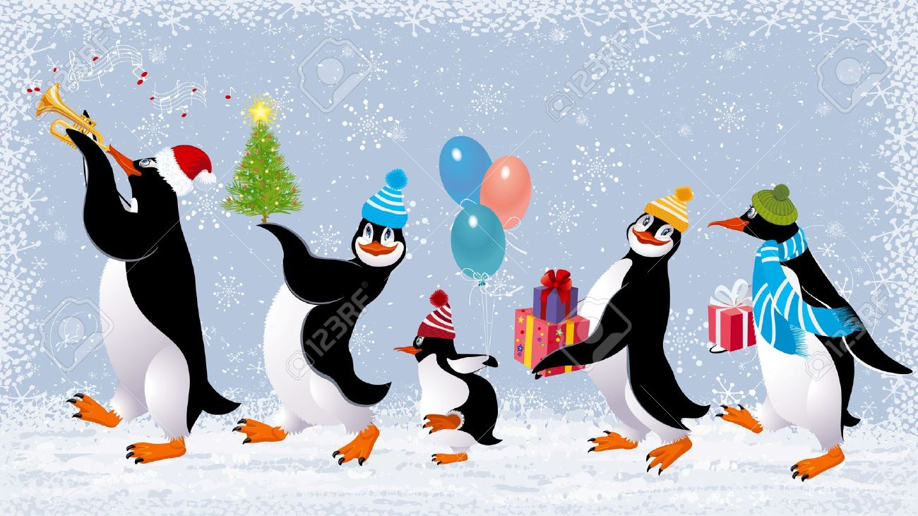 Group Of Cute Penguins In Caps Walking With Christmas Gifts Royalty ...