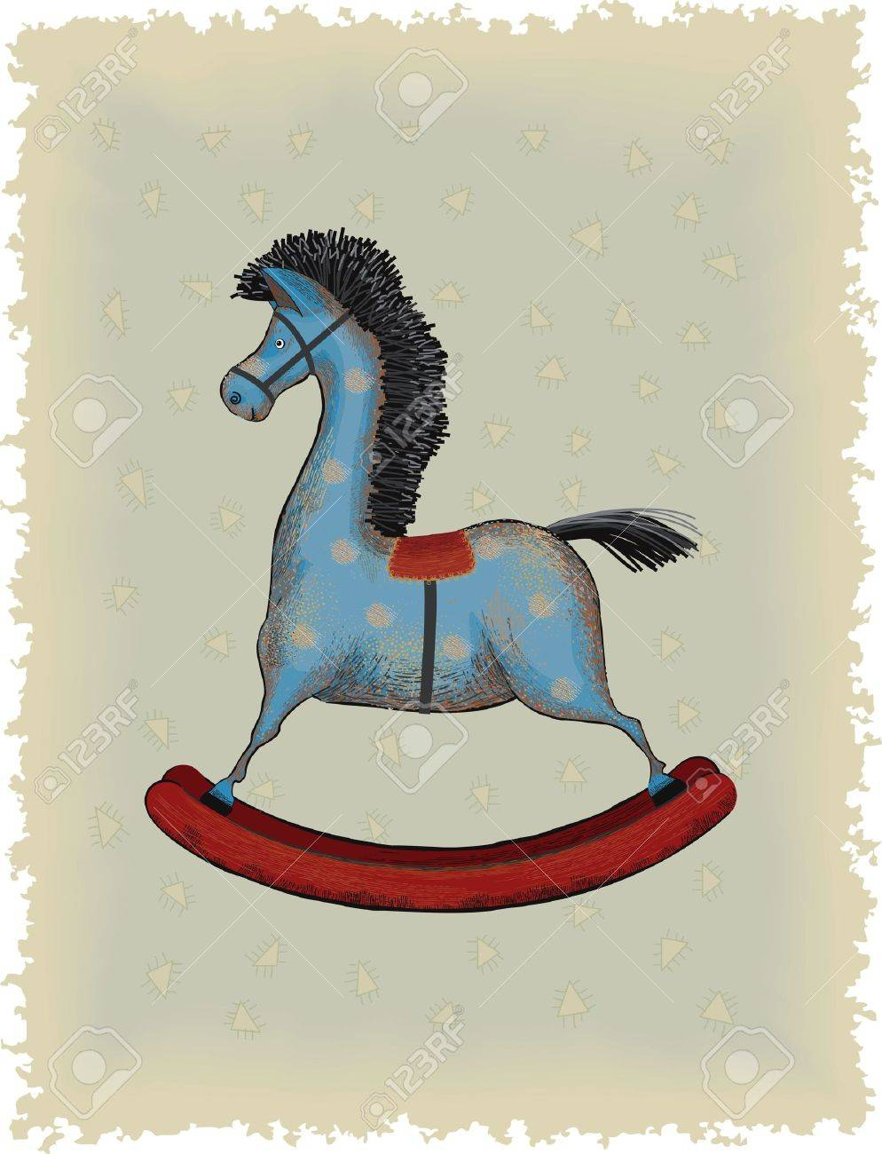 Vintage Blue Wooden Rocking Horse Royalty Free Cliparts Vectors And Stock Illustration Image 21743856