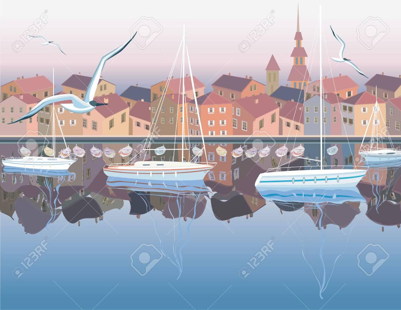 c82bf0450a58f4 Sea Landschaft mit Häusern auf einer Küste und Boote ankern in einer Bucht  Standard-Bild