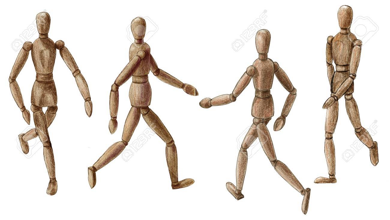 Pencil drawing wooden walking man isolated on white background stock photo 63994492