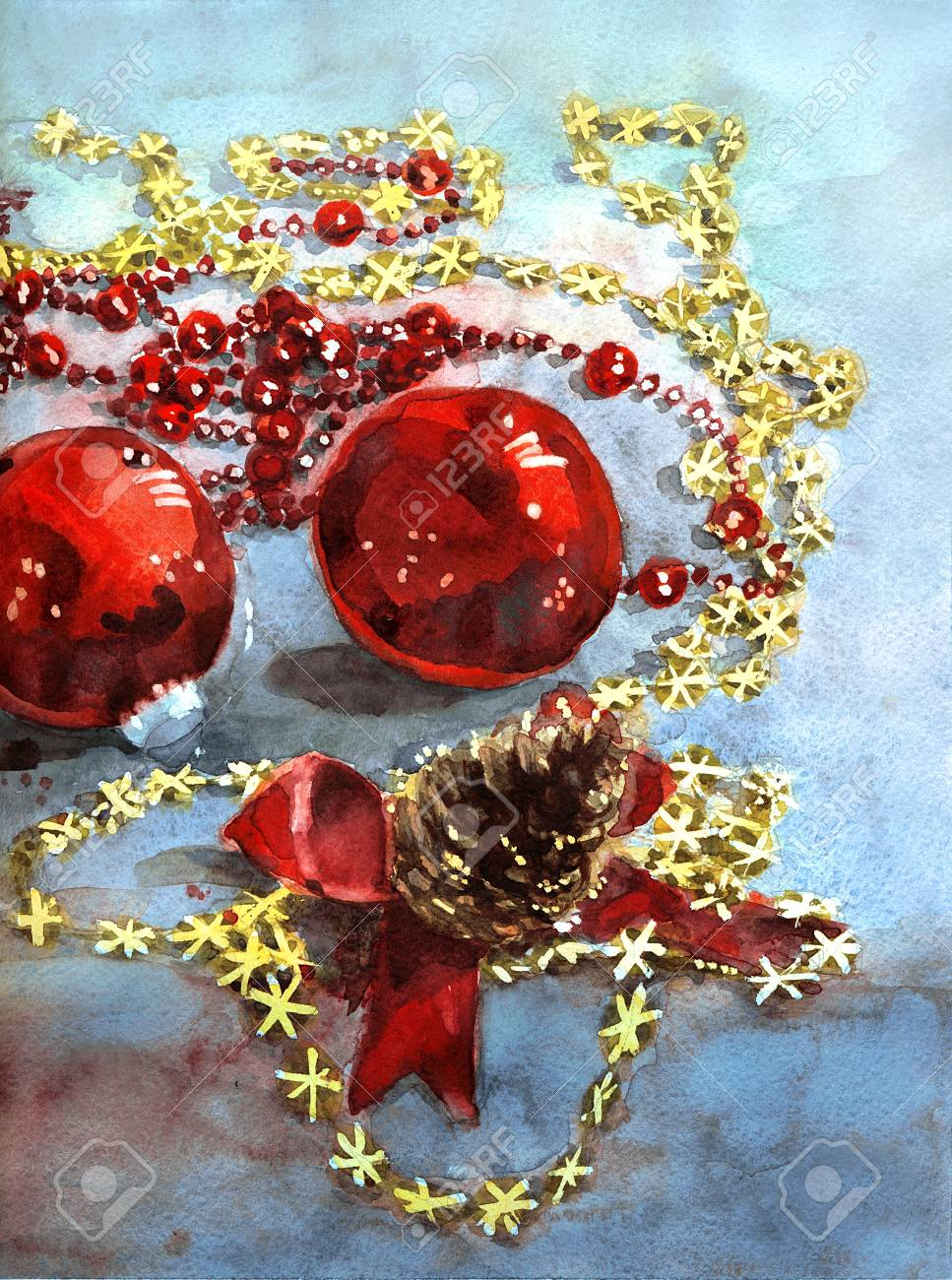 Watercolor Christmas Balls Fir Cone With Ribbon Garland And