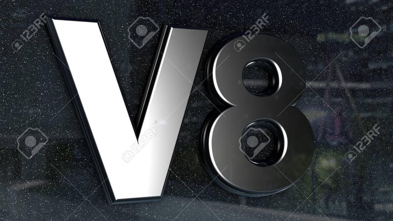 V8 sign, label, badge, emblem or design element on car print