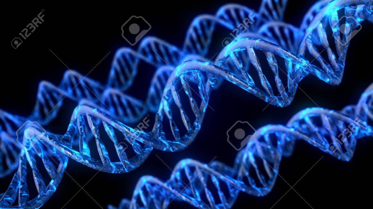DNA code. Abstract 3d polygonal wireframe DNA molecule helix spiral - 128583399