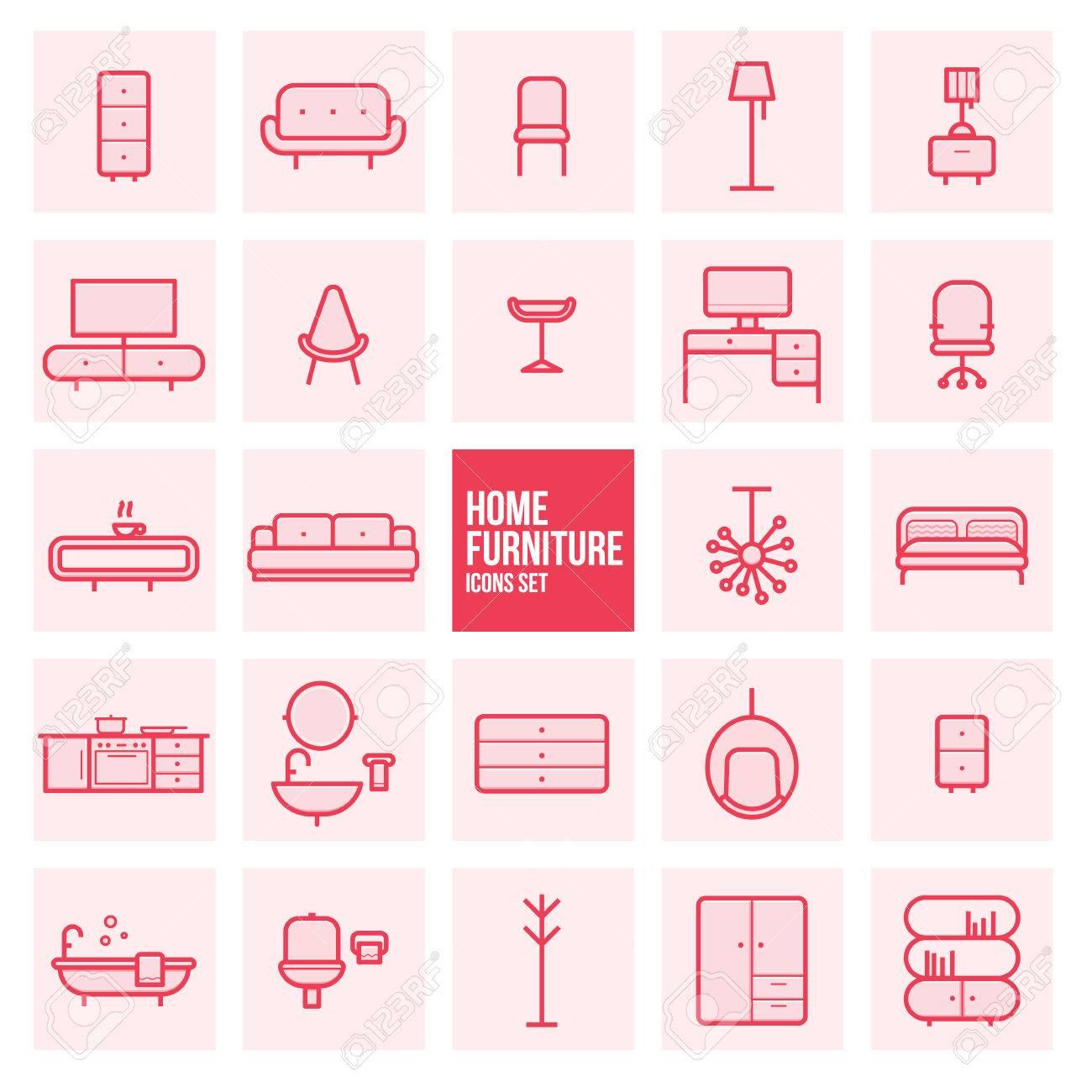 Satz Von Einfachen Line-Design Wohnmöbel Vektor-Icons Gesetzt ...