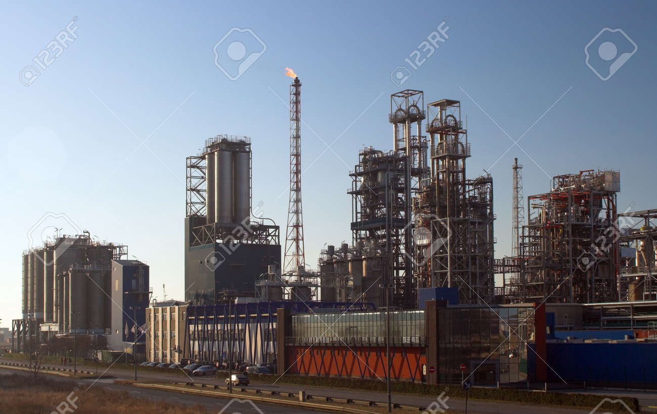 Oil refinery before sunset - Antwerp port Stock Photo - 818843