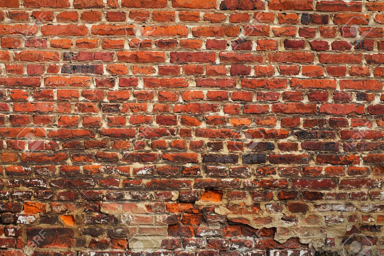 Mur En Brique Rouge grunge texture de la brique rouge (très vieux mur)