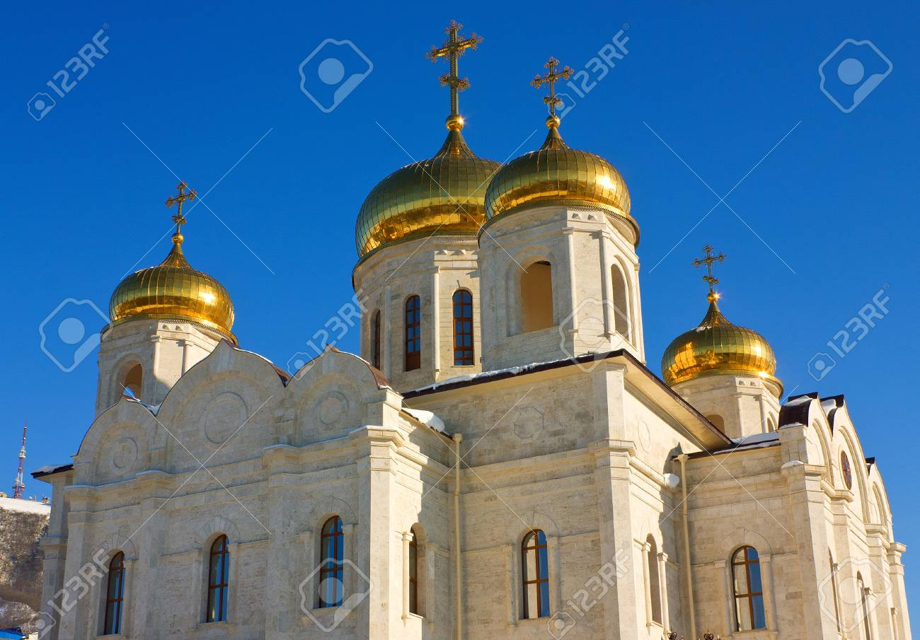 Old Spasski Cathedral against a background blue sky,Pyatigorsk,Northern Caucasus,Russia. Stock Photo - 17043318