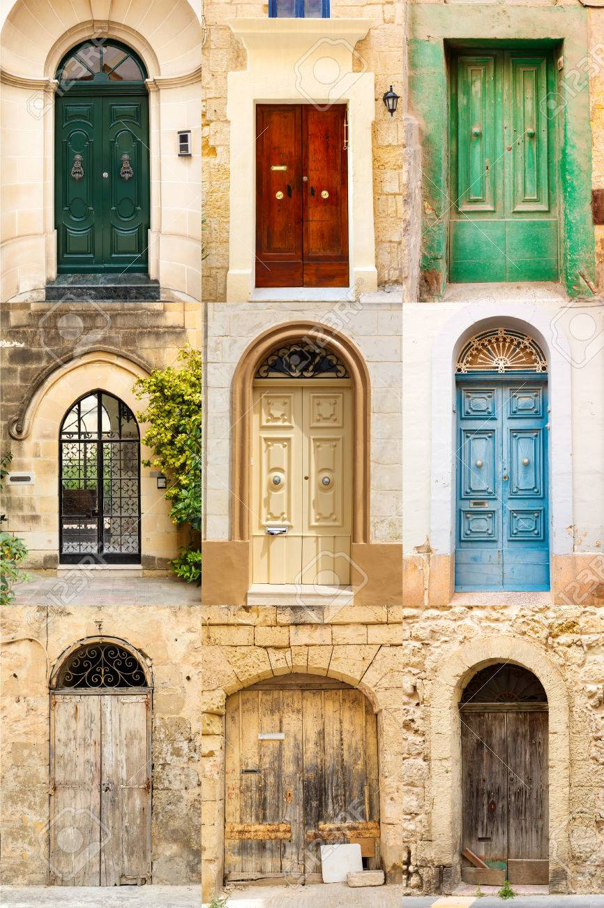 Collage Of 9 Colourful Colored Front Doors To Houses From Malta Stock Photo Picture And Royalty Free Image Image 26328376