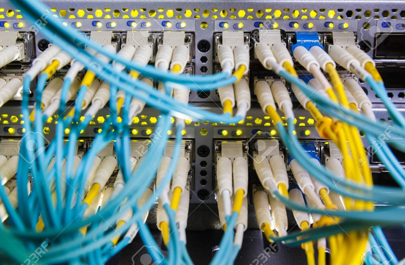 Optical Switch And Colorfull FC Cables Connected Equipment In ...