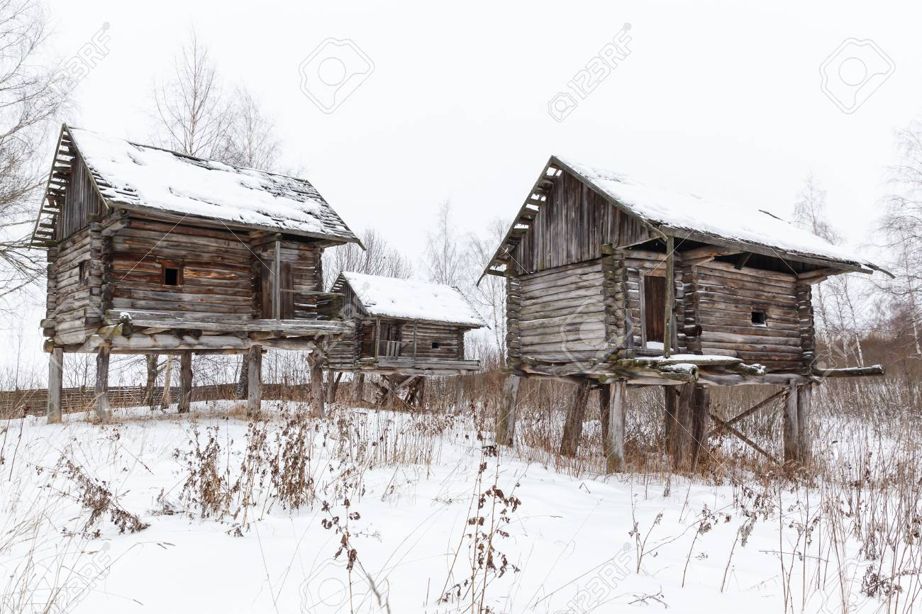 Stock Photo   Traditional Rural Wooden House On Stilts In North Russia In  Winter