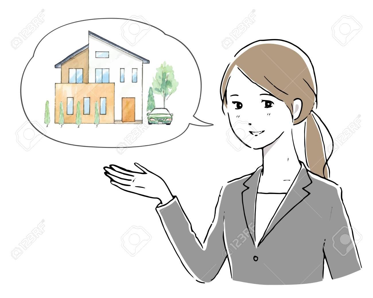 woman explaining the house - 129338533